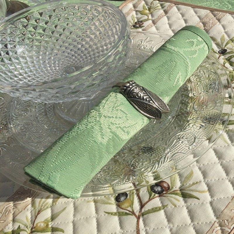 "Damask table napkins ""Garrigue""green"