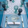"Rectangular Jacquard tablecloth ""Marius"" blue , by Tissus Toselli"