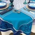"Square Jacquard tablecloth ""Marius"" blue , by Tissus Toselli"