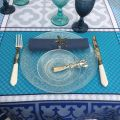 """Rectangular Jacquard tablecloth """"Marius"""" blue , by Tissus Toselli"""
