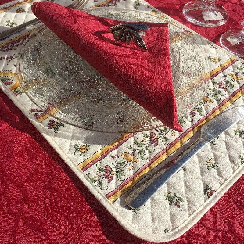 """Serviette de table damassée """"Garrigue"""" rouge"""