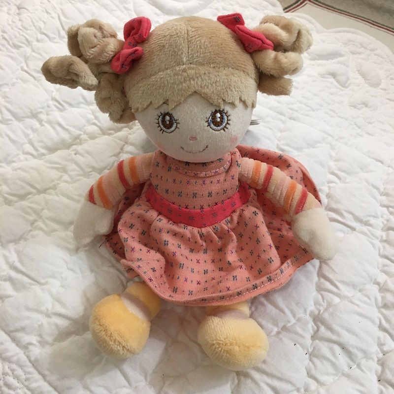 Peluches Bukowski - Poupée Little sister robe orange