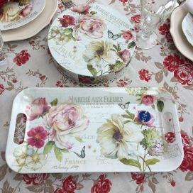 "Melamine rectangular Tray ""Marché au Fleurs"""