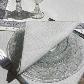 Serviette de table damassée Gris perle