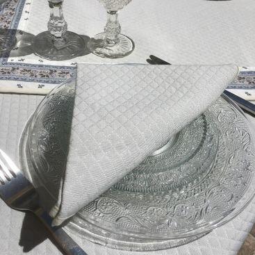 """Serviette de table damassée """"Delft"""" ecrue"""