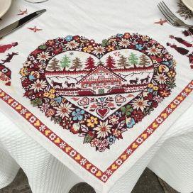 """Carré de table en Jacquard """"Plagne"""" écru et chocolat Tissus Tosseli"""
