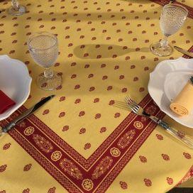 """Nappe carrée Jacquard reversible """"Vaucluse"""" rouge et jaune, Tissus Toselli"""