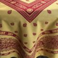 """Square Jacquard tablecloth """"Vaucluse"""" red and yellow, by Tissus Toselli"""