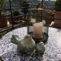 Photophore cage et oiseau en métal gris 28cm