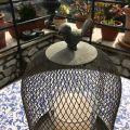 Photophore cage et oiseau en métal gris 32cm