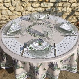 "Coated cotton round tablecloth ""Lauris"" Lavender and Olives, by TISSUS TOSELLI"
