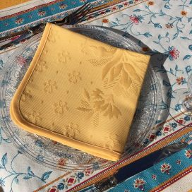 "Lot de 10 serviettes de table damassée ""Delft' jaune"