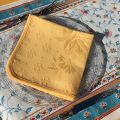 "Set of 10 damask Jacquard table napkins ""Delft"" yellow"