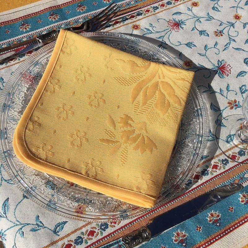 "Set of 10 damask Jacquard table napkins ""Delft"" yellow"