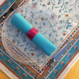 "Jacquard table runner ""Roussillon"" ocre and turquoise Tissus Tosseli"