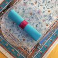 """Chemin de table en Jacquard """"Roussillon"""" ocre et turquoise Tissus Tosseli"""