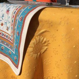 "Nappe ronde en jacquard damassée ""Delft"" jaune or"