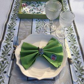 "Chemin de table Jacquard olives ""Nyons"" écru et vert Tissus Tosseli"