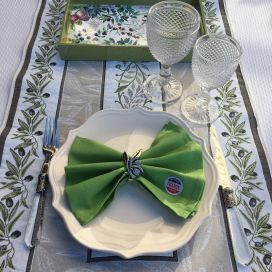 "Jacquard table runner olives ""Castillon"" ecru and green Tissus Tosseli"