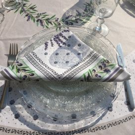 "Cotton napkin ""Lauris"" Lavenders and OLives ecru"