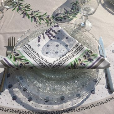 "Cotton napkin ""Lauris"" Lavenders and OLives"