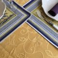 """Round jacquard damask tablecloth """"Trianon"""" yellow"""
