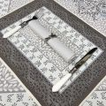 """Provence Jacquard placemat """"Aubrac"""" taupe and blue from Tissus Toselli in Nice"""