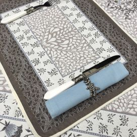 "Provence Jacquard placemat ""Aubrac"" taupe and blue from Tissus Toselli in Nice"
