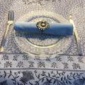"Jacquard-webbed tablecloth  ""Aubrac"" taupe and pale blue, Tissus Toselli"