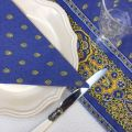 """Quilted cotton table cover """"Bastide"""" blue and yellow"""