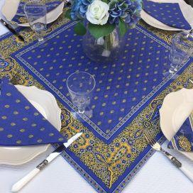 """Tapis de table en coton matelassé """"Bastide"""" bleu et jaune"""