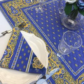 "Cotton napkins ""Bastide""  blue and yellow  by ""Marat d'Avignon"""