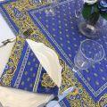 """Serviette en coton """"Bastide""""  bleu et jaune """"Marat d'Avignon"""