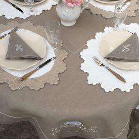 """Nappe carrée lin et polyester """"Versailles"""" lin"""
