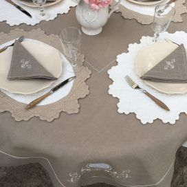 "Square linen and polyester tablecloth ""Versailles"" linen color"