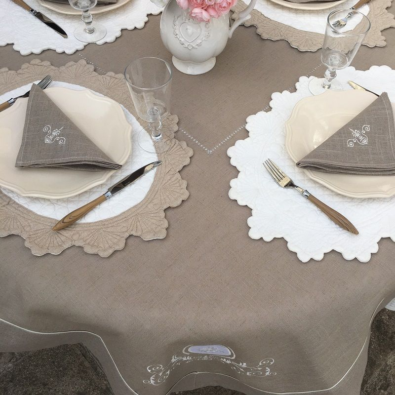 """Square linen and polyester tablecloth """"Versailles"""" linen color"""