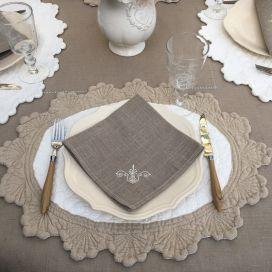 "Nappe rectangulaire lin et polyester ""Versailles"" lin"