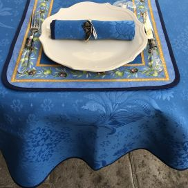 """Jacquard round tablecloth, cotton and polyester """"Delft"""" blue"""