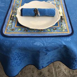 """Nappe ronde damassée en jacquard """"Delft"""" bleue"""