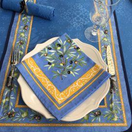 """Chemin ou carré de table damassé Delft écru, bordure """"Clos des Oliviers""""  bleu"""