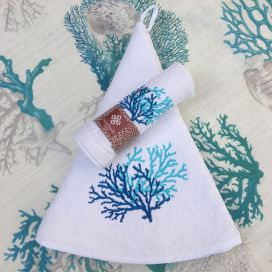 "Embrodery round hand towel ""Corail"" white and blue"