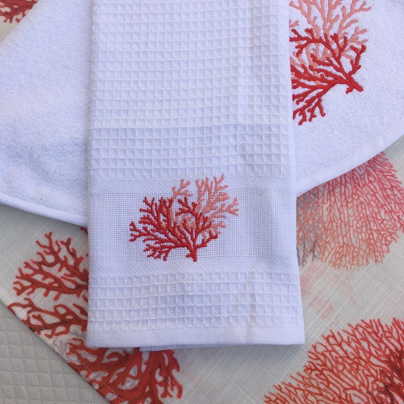 """Embrodery kitchen or hand towel """"Corail"""" white and orange"""