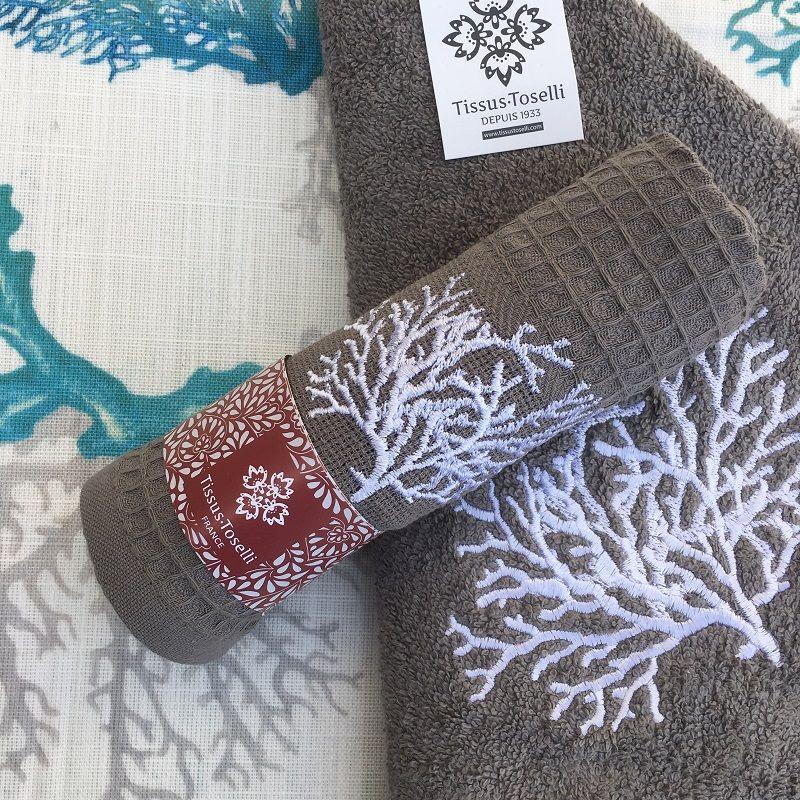 """Embrodery kitchen or hand towel """"Corail"""" grey"""