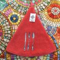 """Embrodery round hand towel """"Cutlery"""" red"""