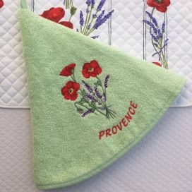 "Embrodery round hand towel ""Poppies and lavenders"" green"