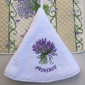 "Embrodery round hand towel ""Lavenders"" white"