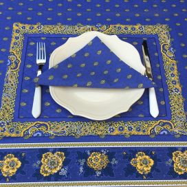 "Bordered quilted placemats ""Bastide"" blue and yellow, by Marat d'Avignon"