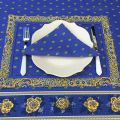"""Bordered quilted placemats """"Bastide"""" blue and yellow, by Marat d'Avignon"""
