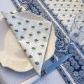 """Quilted cotton table cover """"Bastide"""" white and blue"""