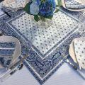 """Tapis de table en coton matelassé """"Bastide"""" blanc et bleu"""